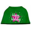 Mirage Pet Products Scribble Happy Holidays Screenprint Shirts Emerald Green XS (8)