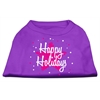 Mirage Pet Products Scribble Happy Holidays Screenprint Shirts Purple S (10)