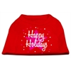 Mirage Pet Products Scribble Happy Holidays Screenprint Shirts Red XS (8)