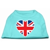 Mirage Pet Products British Flag Heart Screen Print Shirt Aqua XXL (18)