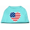 Mirage Pet Products American Flag Heart Screen Print Shirt Aqua XXL (18)