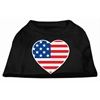 Mirage Pet Products American Flag Heart Screen Print Shirt Black  XXL (18)