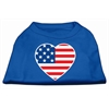 Mirage Pet Products American Flag Heart Screen Print Shirt Blue XS (8)