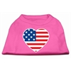Mirage Pet Products American Flag Heart Screen Print Shirt Bright Pink Sm (10)