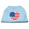 Mirage Pet Products American Flag Heart Screen Print Shirt Baby Blue XXL (18)