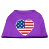 Mirage Pet Products American Flag Heart Screen Print Shirt Purple XXL (18)