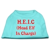 Mirage Pet Products Head Elf In Charge Screen Print Shirt Aqua Lg (14)