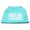 Mirage Pet Products Hungry I am Screen Print Shirt Aqua Lg (14)