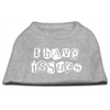 Mirage Pet Products I Have Issues Screen Printed Dog Shirt  Grey Med (12)