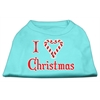 Mirage Pet Products I Heart Christmas Screen Print Shirt  Aqua Lg (14)