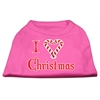 Mirage Pet Products I Heart Christmas Screen Print Shirt  Bright Pink XXL (18)