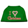 Mirage Pet Products I Heart Christmas Screen Print Shirt Emerald Green Sm (10)