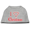 Mirage Pet Products I Heart Christmas Screen Print Shirt  Grey XXL (18)