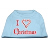 Mirage Pet Products I Heart Christmas Screen Print Shirt  Baby Blue XXL (18)