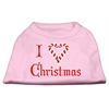 Mirage Pet Products I Heart Christmas Screen Print Shirt  Light Pink XXL (18)