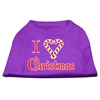 Mirage Pet Products I Heart Christmas Screen Print Shirt  Purple XXL (18)