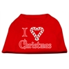 Mirage Pet Products I Heart Christmas Screen Print Shirt  Red XXXL (20)