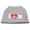 Mirage Pet Products I Love U Screen Print Shirt Grey XL (16)
