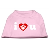 Mirage Pet Products I Love U Screen Print Shirt Light Pink  XXL (18)
