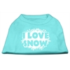 Mirage Pet Products I Love Snow Screenprint Shirts Aqua XS (8)