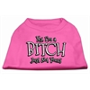 Mirage Pet Products Yes Im a Bitch Just not Yours Screen Print Shirt Bright Pink Med (12)