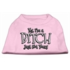 Mirage Pet Products Yes Im a Bitch Just not Yours Screen Print Shirt Light Pink Lg (14)