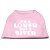 Mirage Pet Products I'm a Lover not a Biter Screen Printed Dog Shirt   Light Pink Med (12)