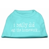Mirage Pet Products I really did eat the Homework Screen Print Shirt Aqua M (12)