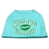 Mirage Pet Products Kiss Me I'm Irish Screen Print Shirt Aqua Lg (14)