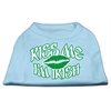 Mirage Pet Products Kiss Me I'm Irish Screen Print Shirt Baby Blue XXL (18)
