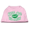 Mirage Pet Products Kiss Me I'm Irish Screen Print Shirt Light Pink  XL (16)