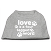 Mirage Pet Products Love is a Four Leg Word Screen Print Shirt Grey XS (8)