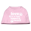 Mirage Pet Products Love is a Four Leg Word Screen Print Shirt Light Pink XXL (18)