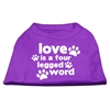 Mirage Pet Products Love is a Four Leg Word Screen Print Shirt Purple XS (8)