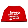 Mirage Pet Products Love is a Four Leg Word Screen Print Shirt Red XL (16)