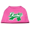 Mirage Pet Products Lucky Swoosh Screen Print Shirt Bright Pink Med (12)