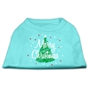 Mirage Pet Products Scribbled Merry Christmas Screenprint Shirts  Aqua XS (8)