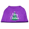 Mirage Pet Products Scribbled Merry Christmas Screenprint Shirts  Purple XS (8)