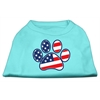 Mirage Pet Products Patriotic Paw Screen Print Shirts Aqua XXXL(20)