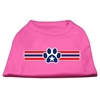 Mirage Pet Products Patriotic Star Paw Screen Print Shirts Bright Pink XXXL(20)