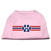 Mirage Pet Products Patriotic Star Paw Screen Print Shirts Light Pink XXXL(20)