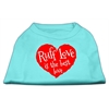 Mirage Pet Products Ruff Love Screen Print Shirt Aqua Lg (14)