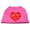 Mirage Pet Products Ruff Love Screen Print Shirt Bright Pink XXL (18)