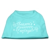 Mirage Pet Products Seasons Greetings Screen Print Shirt Aqua XXL (18)