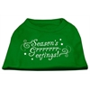 Mirage Pet Products Seasons Greetings Screen Print Shirt Emerald Green Sm (10)
