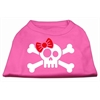 Mirage Pet Products Skull Crossbone Bow Screen Print Shirt Bright Pink XL (16)