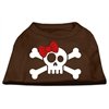 Mirage Pet Products Skull Crossbone Bow Screen Print Shirt Brown XS (8)