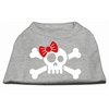 Mirage Pet Products Skull Crossbone Bow Screen Print Shirt Grey XS (8)