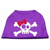 Mirage Pet Products Skull Crossbone Bow Screen Print Shirt Purple XXL (18)
