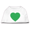 Mirage Pet Products Green Swiss Dot Heart Screen Print Shirt White XXXL(20)